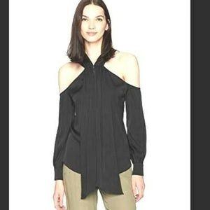 Trina Turk Mitchell Top Sz L Black Silk